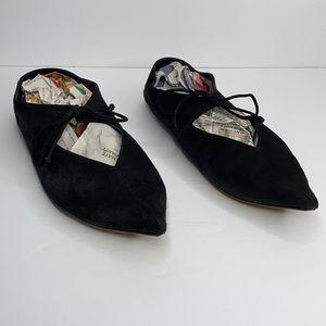 Celine Paris black suede pointed toe ballet flats